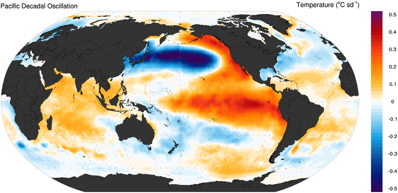 Figure 2: Pacific Decadal Oscillation. Credit: Wikicommons.