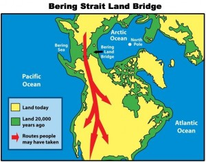 The ancestors of today's North American aboriginal peoples are thought to have reached North America from Asia between 12,000 and 25,000 years ago via the Bering Strait land bridge.