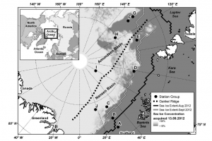 Fig. 5: This map shows where researchers sampled. Each letter represents a sampling site.
