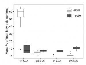 Fig. 6: Researchers were able to determine differences in the FA composition (x-axis, different isotopic markers listed) between pelagic algae (gray bars) and ice algae (white bars).