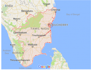 Figure 2: southeast India states of Tamil Nadu and Puducherry, harbor circled in red (source: google maps, modified)