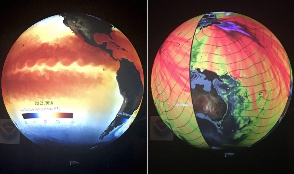 Science On a Sphere. Left: El Nino currents of 2016. Right: Tidal wave tracks over the Pacific Ocean after the 2011 Japan earthquake. 1-hour increment lines show how long it took the waves to reach far-off coasts and islands.