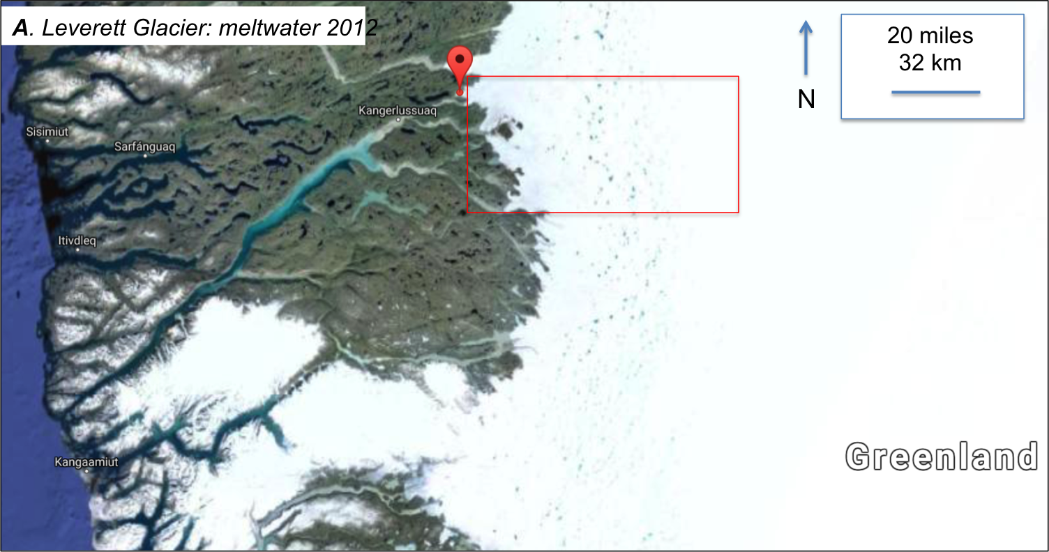 Figure 2: Leverett Glacier is located in the red box. The Red balloon is pinned at 67.1N, 50.2W; image modified from Google maps