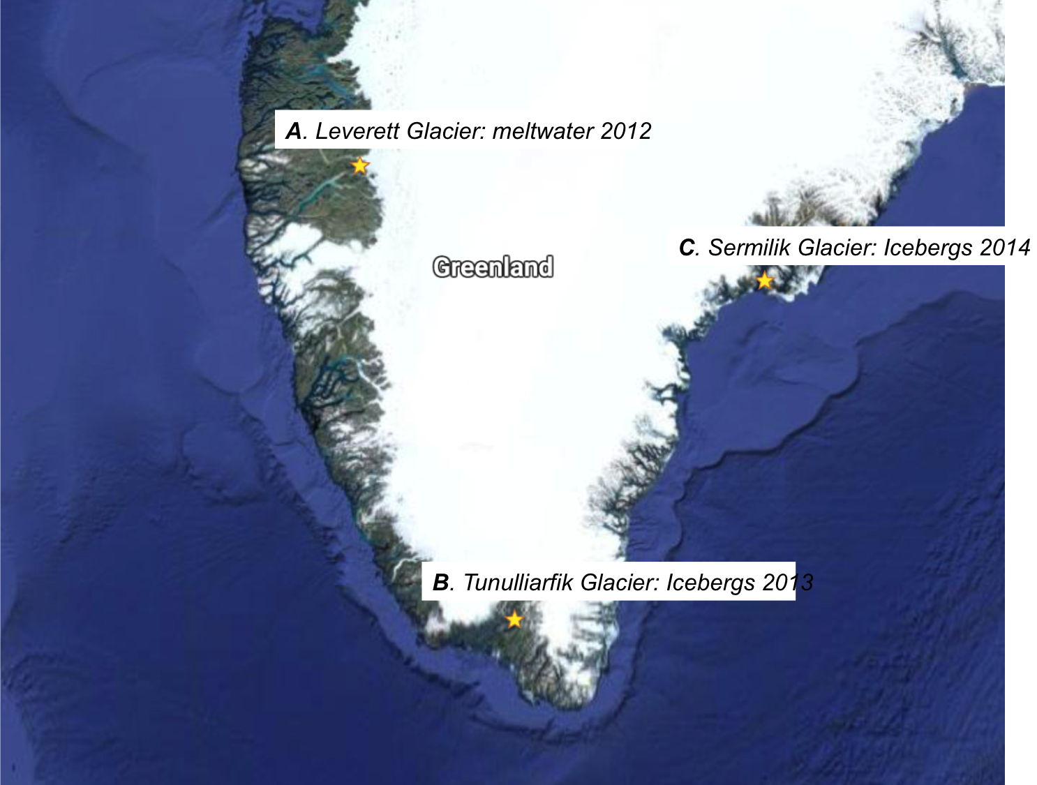 Figure 1: Greenland Ice Sheet; image modified from Google maps
