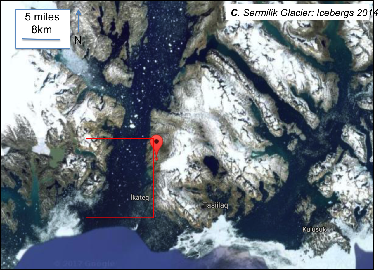 Figure 4: Sermilik fjord, iceberg samples collected in red boxed area, the balloon is pinned at 65.7N, 37.9W; image modified from Google maps
