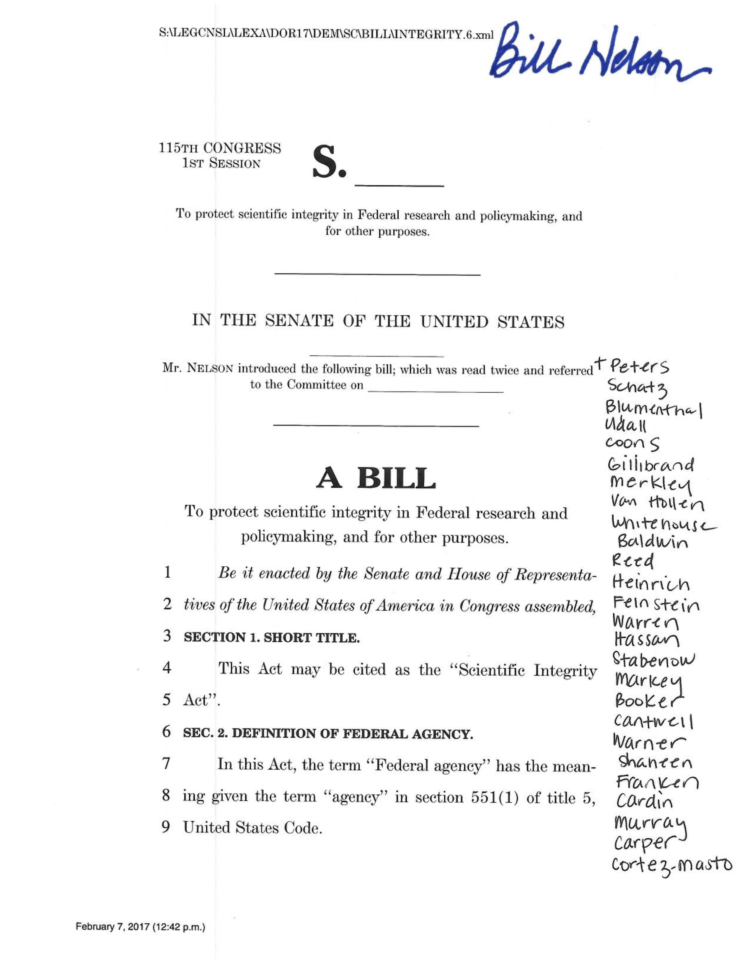 Senators propose bill to ensure independence of federal researchers