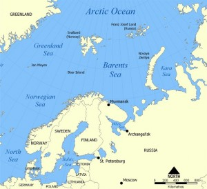 The fish used in this study were caught in the Barents Sea, in the far north, and from the (ironically southern) North Sea population [Wikimedia].