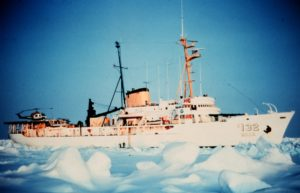 Ship moving through Arctic ice