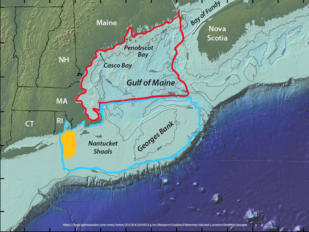 Figure 2: Northwest Atlantic. Gulf of Maine is outlined in red, Georges Bank is outlined in blue.
