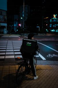 Uber eats bike delivery at night
