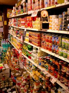 Canned foods in a grocery store.