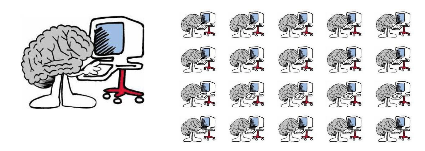 Cartoon of one brain working at a computer compared to an army of brains working at a computer