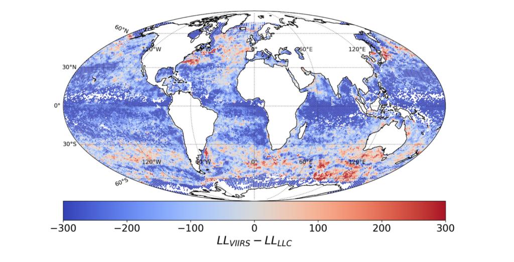 Heat map of modeled ocean temperatures, worldwide