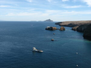 Channel islands from air, with boat